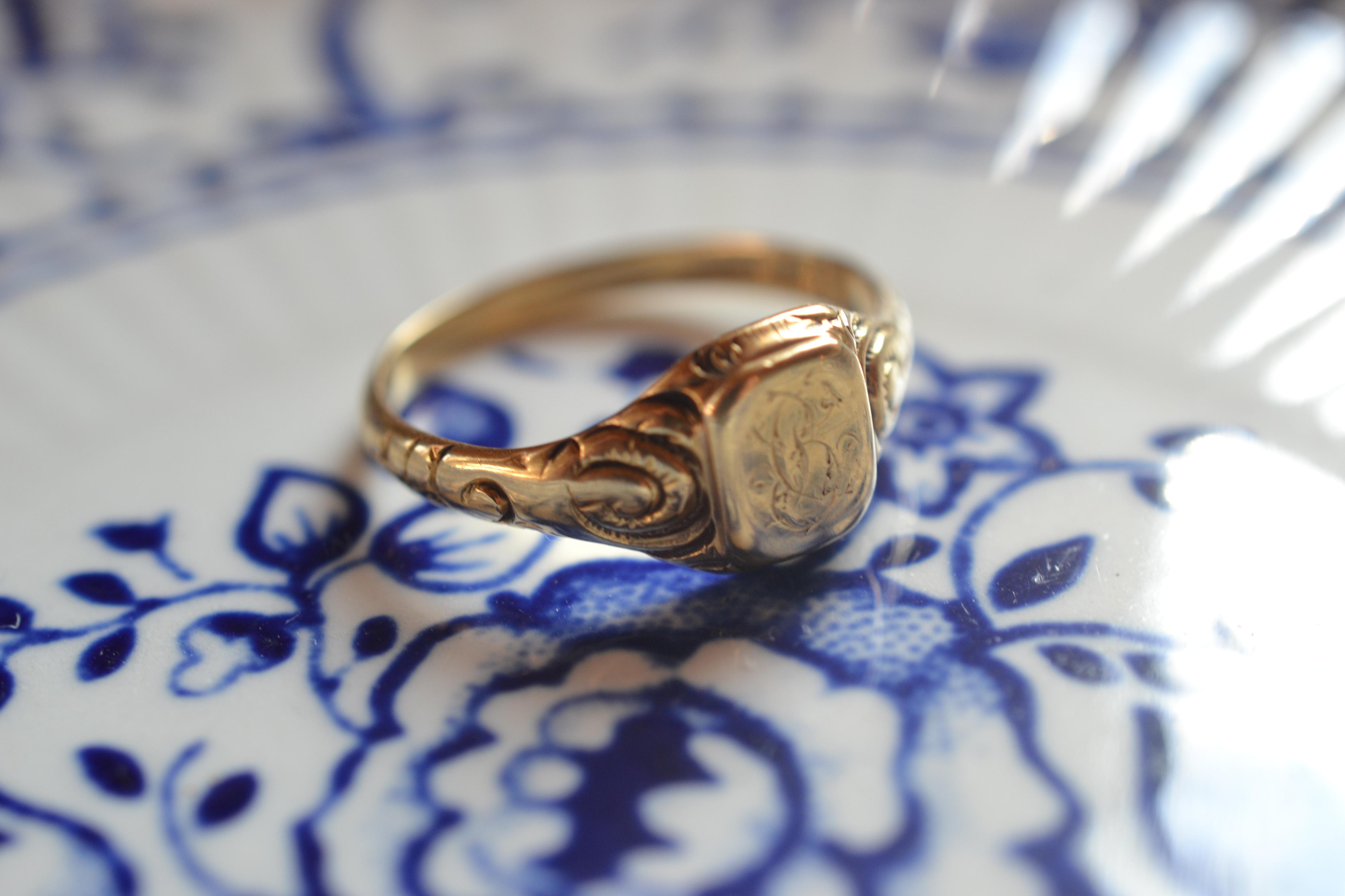 bague chevalière vintage en or