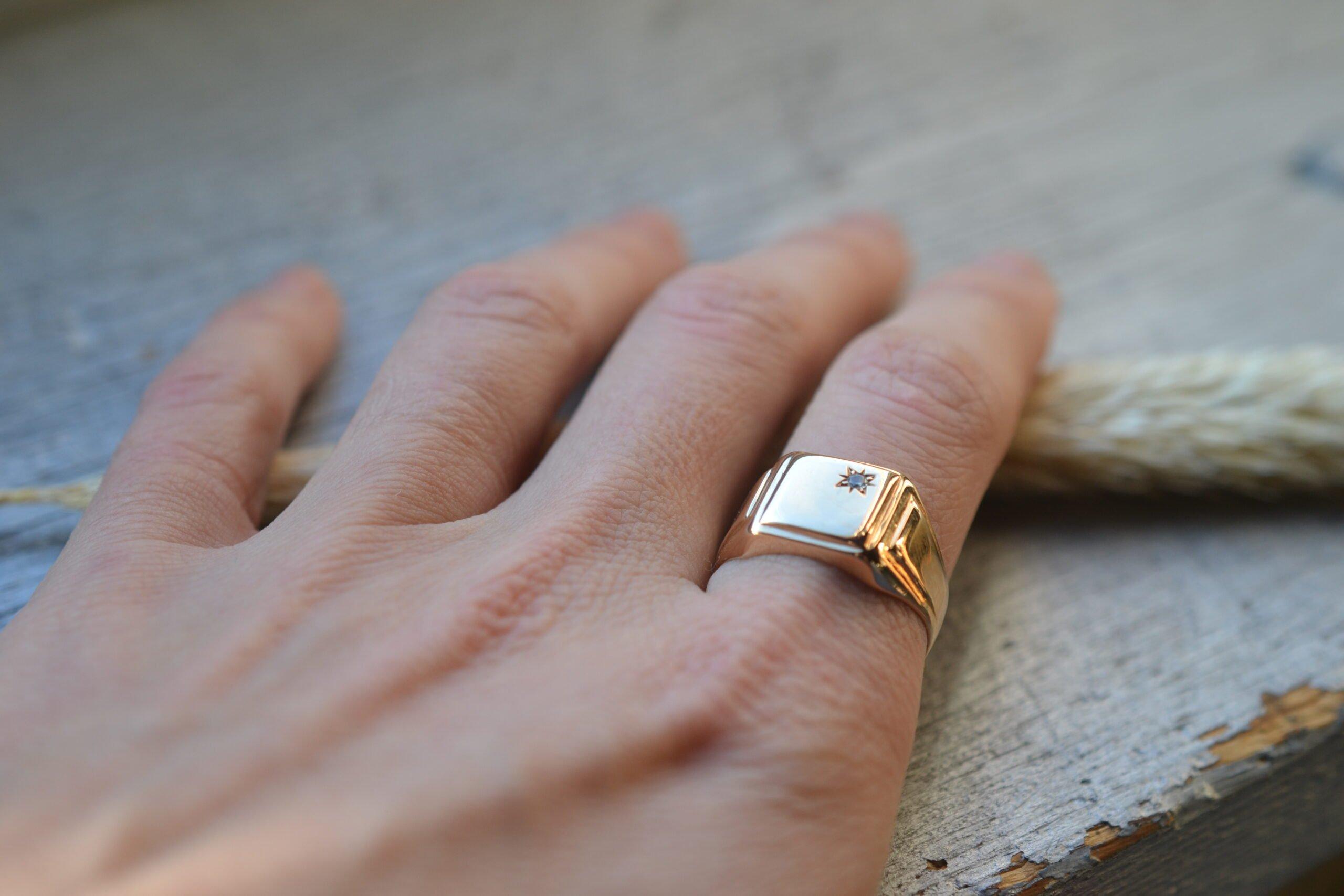 bague seconde main chevalière homme - en or 18 carats (750/1000) - un bijou noircarat.fr