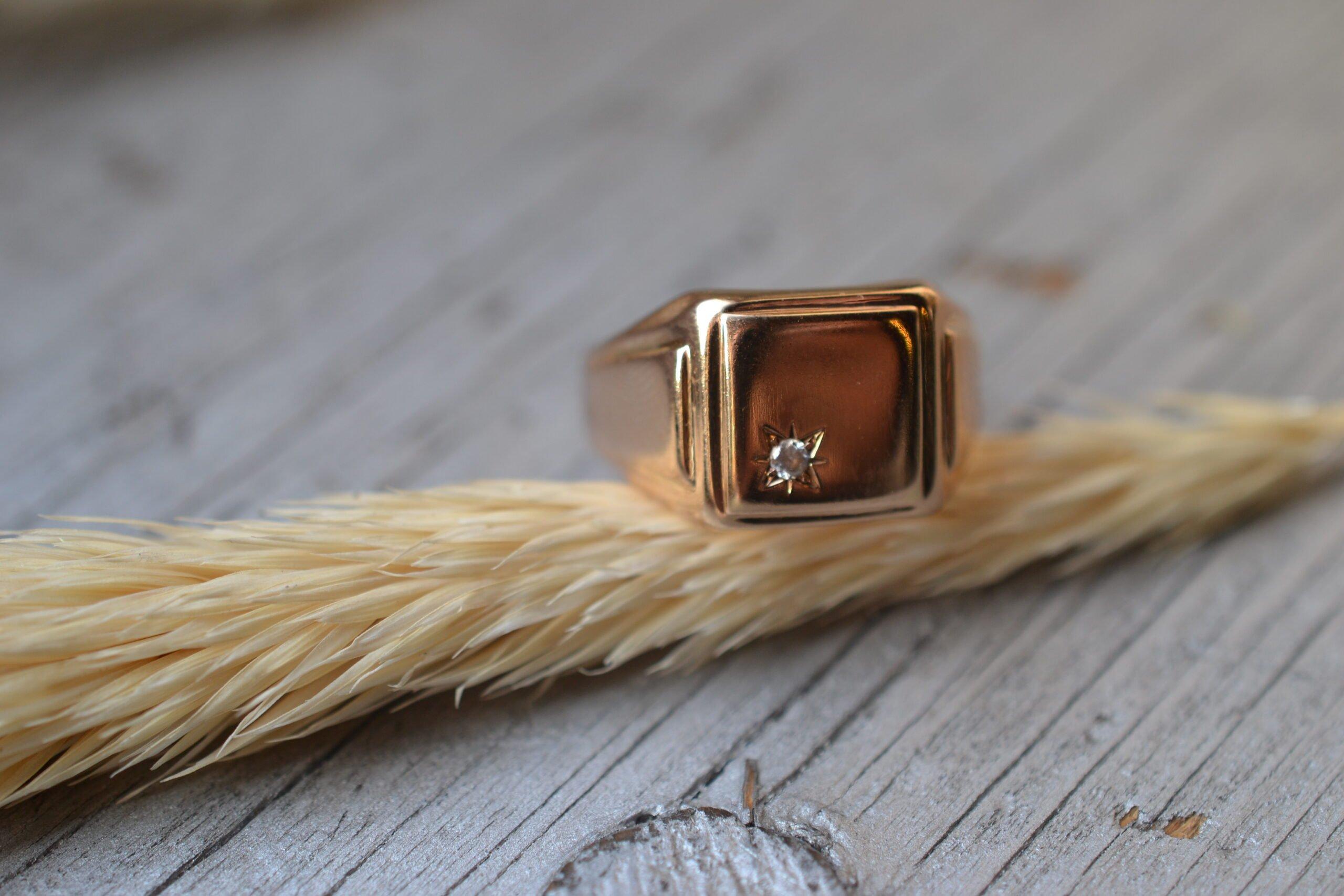 bague occasion chevalière homme - en or 18 carats (750/1000) - un bijou noircarat.fr