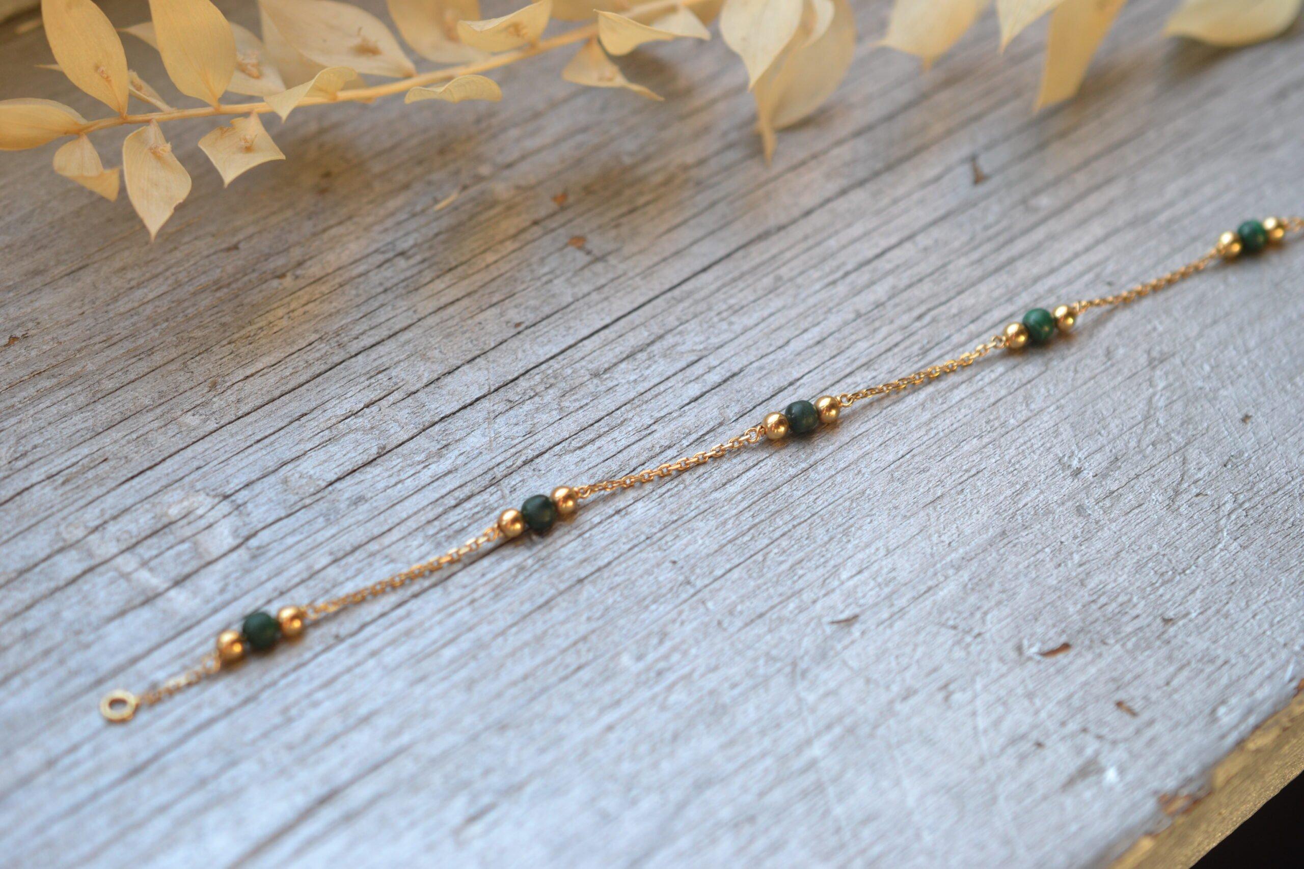 Bracelet Billes Vertes Et Or