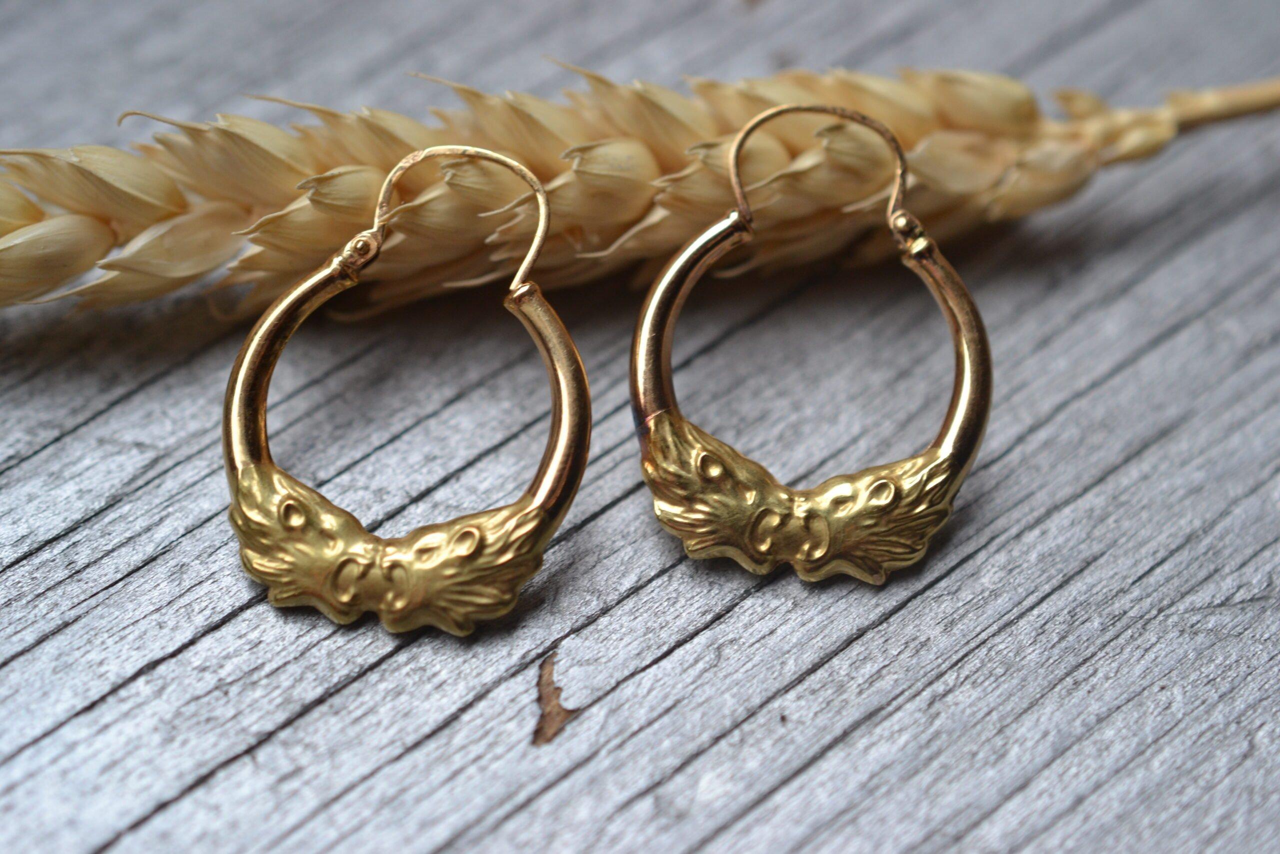 Créoles tête de lion anciennes en Or 18 Carats - bijoux vintage seconde main