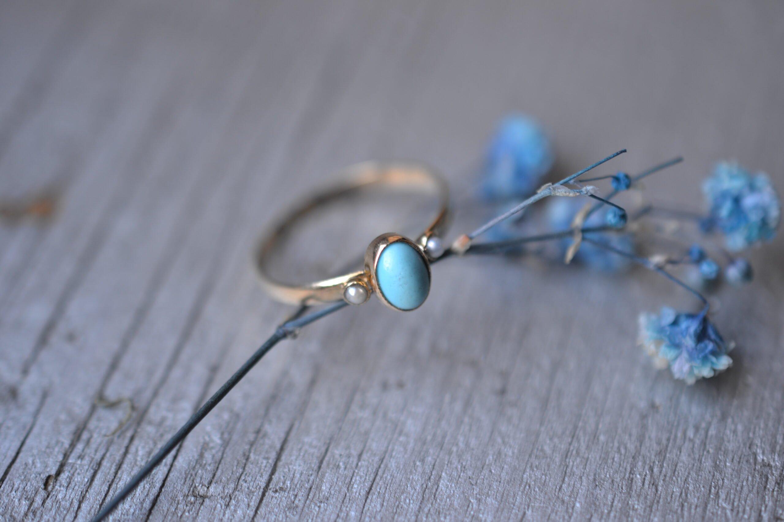 Bague Turquoise Et Perles