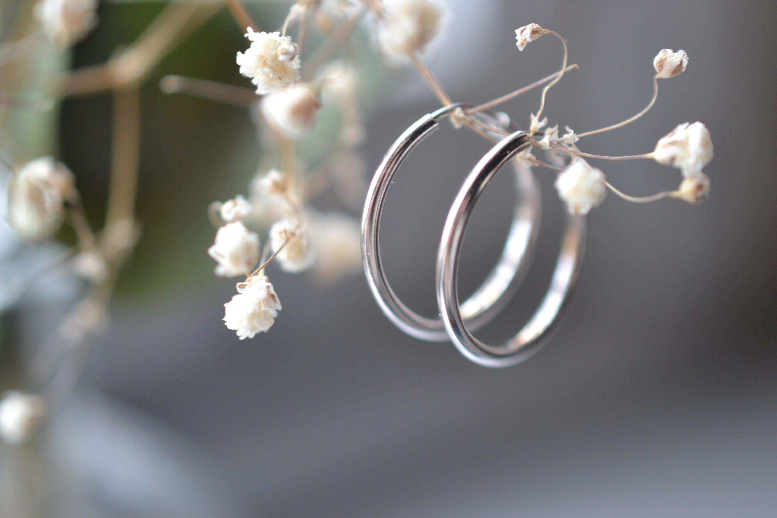 créoles en argent or gris simples - bijoux anciens occasion seconde main