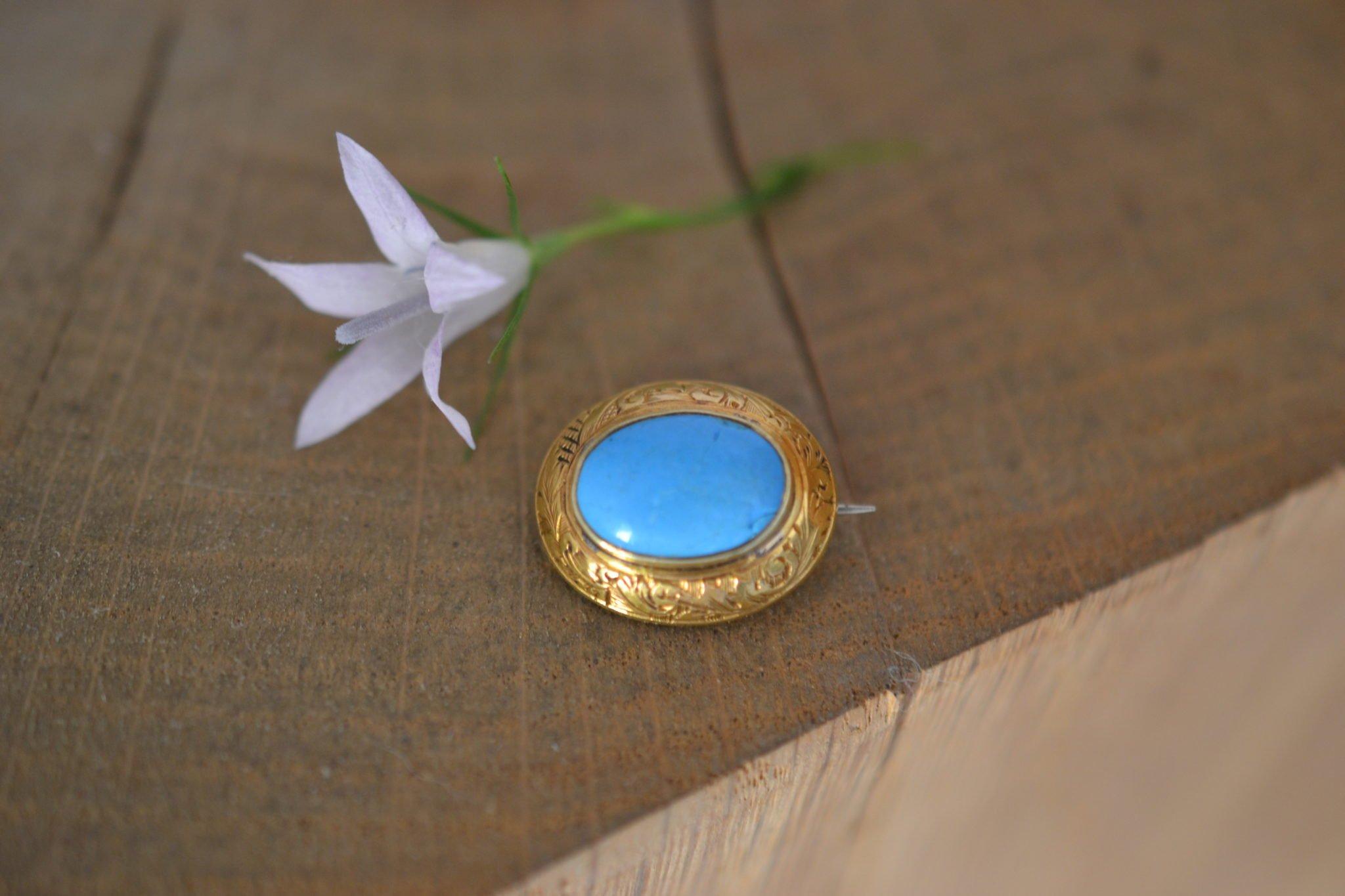 Broche Turquoise Ancienne - En Or 18 Carats - Bijoux Anciens Vintage - Noircarat.fr