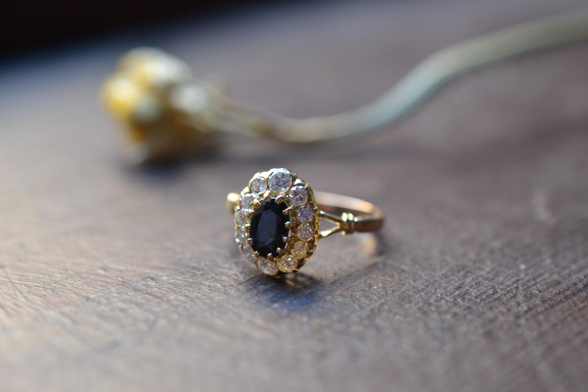 Bague Marguerite Saphir Et Diamant