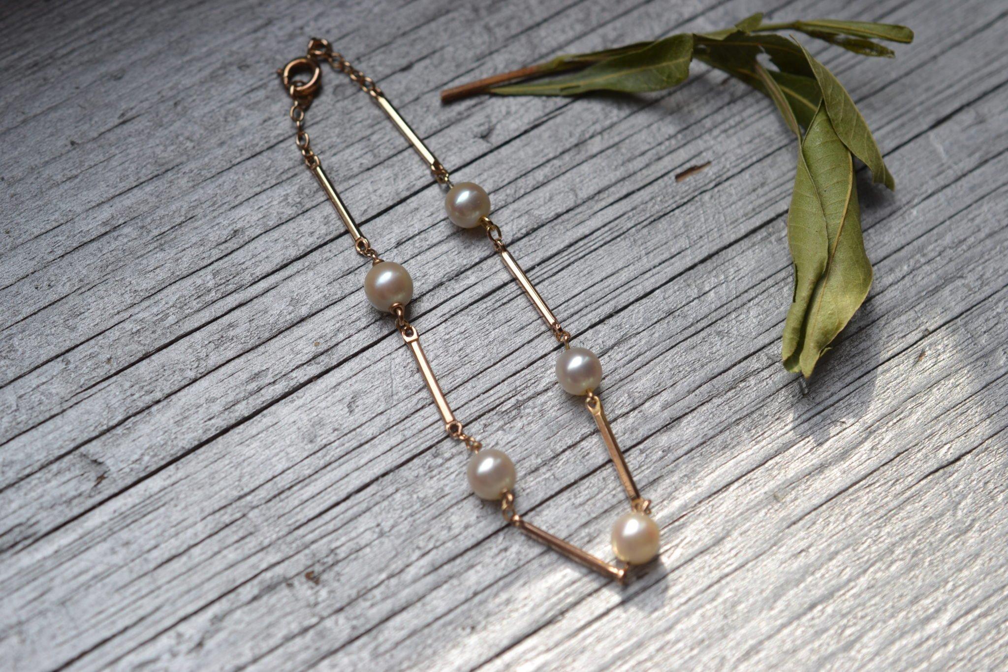 bracelet perles de culture et or jaune 18 carats - bijou vintage seconde main - bijouterie ecoresponsable
