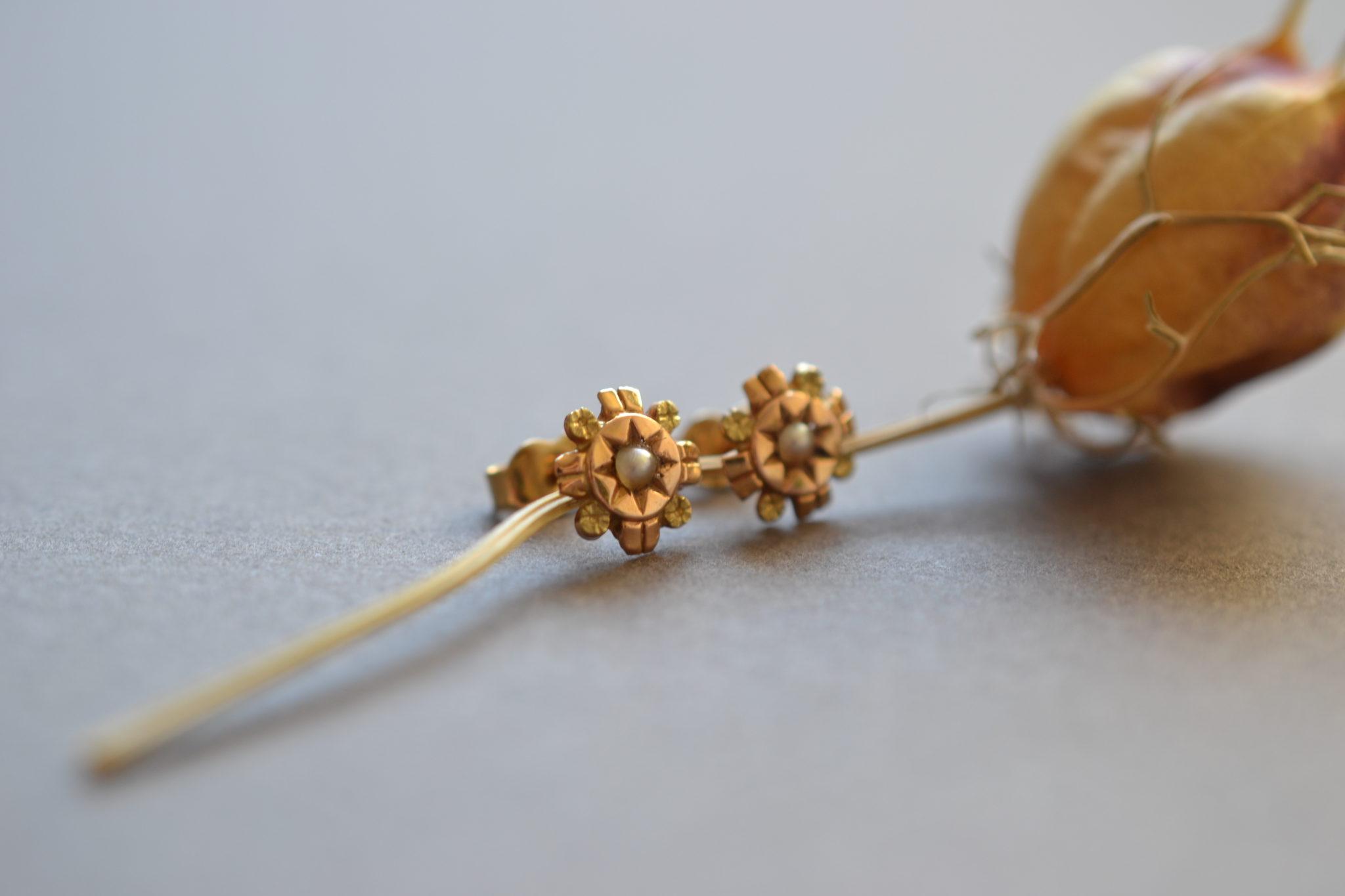 puces d'oreilles anciennes en Or avec perles - boucles d'oreilles ancienne mariage - bijoux durables