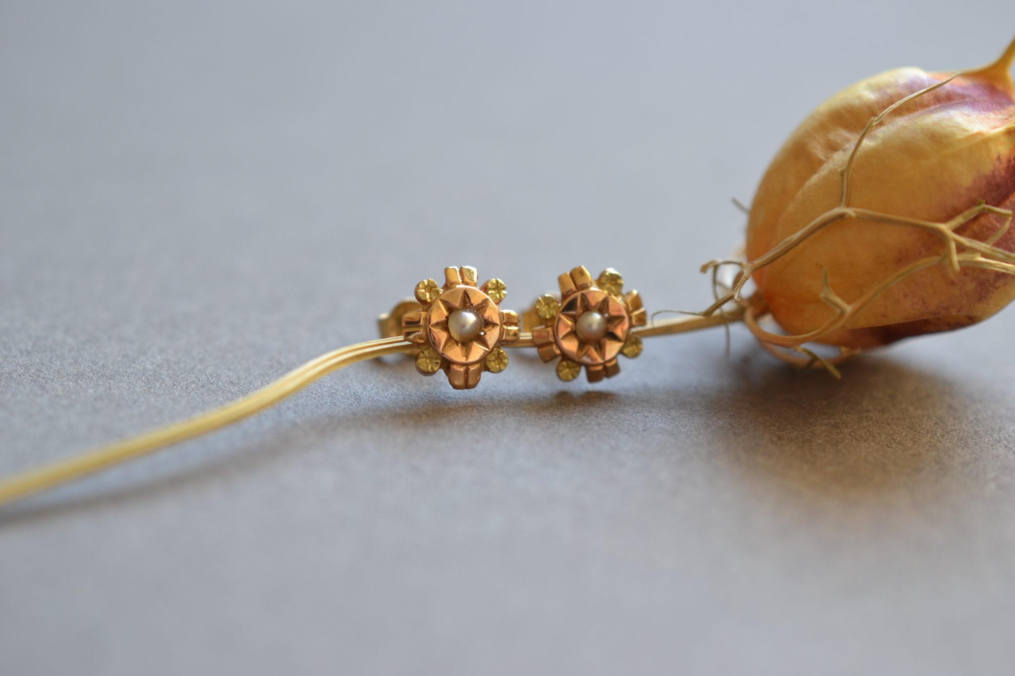 puces d'oreilles anciennes en Or avec perles - boucles d'oreilles ancienne mariage - bijoux zero déchet