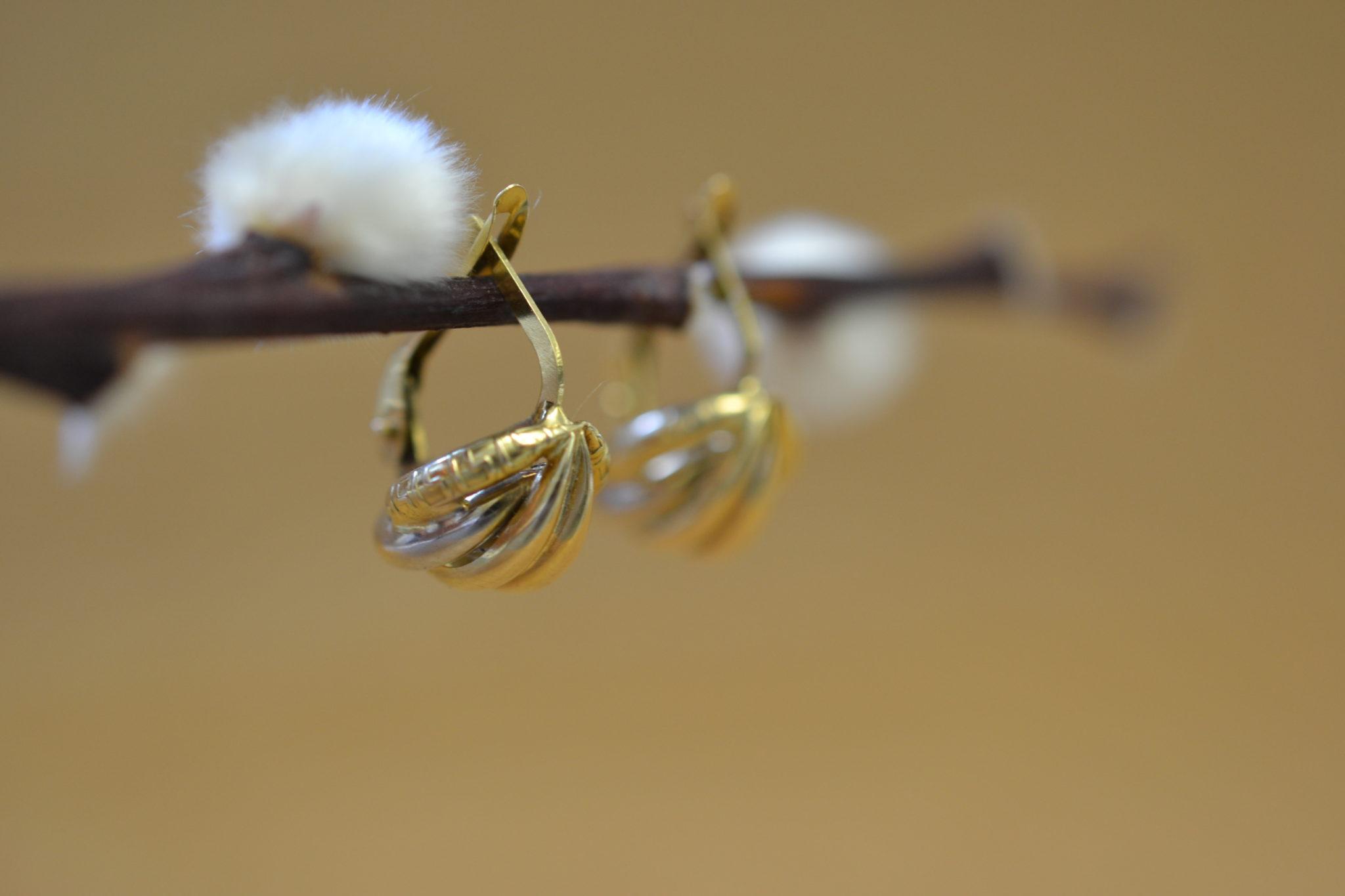 boucles d'oreilles 2 Ors vintage - boucles d'oreilles robe mariage durable
