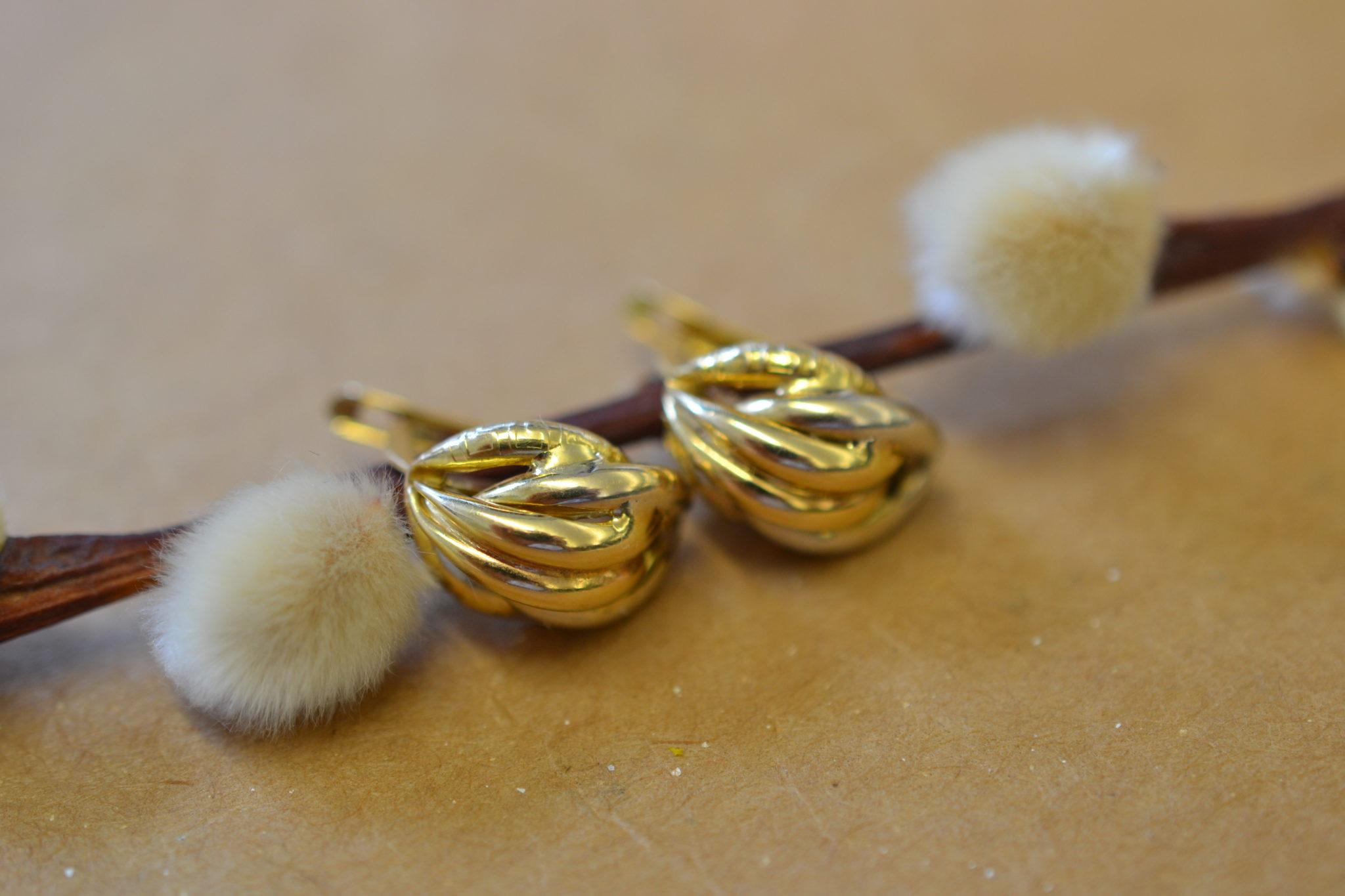 boucles d'oreilles 2 Ors vintage - boucles d'oreilles robe mariage seconde main