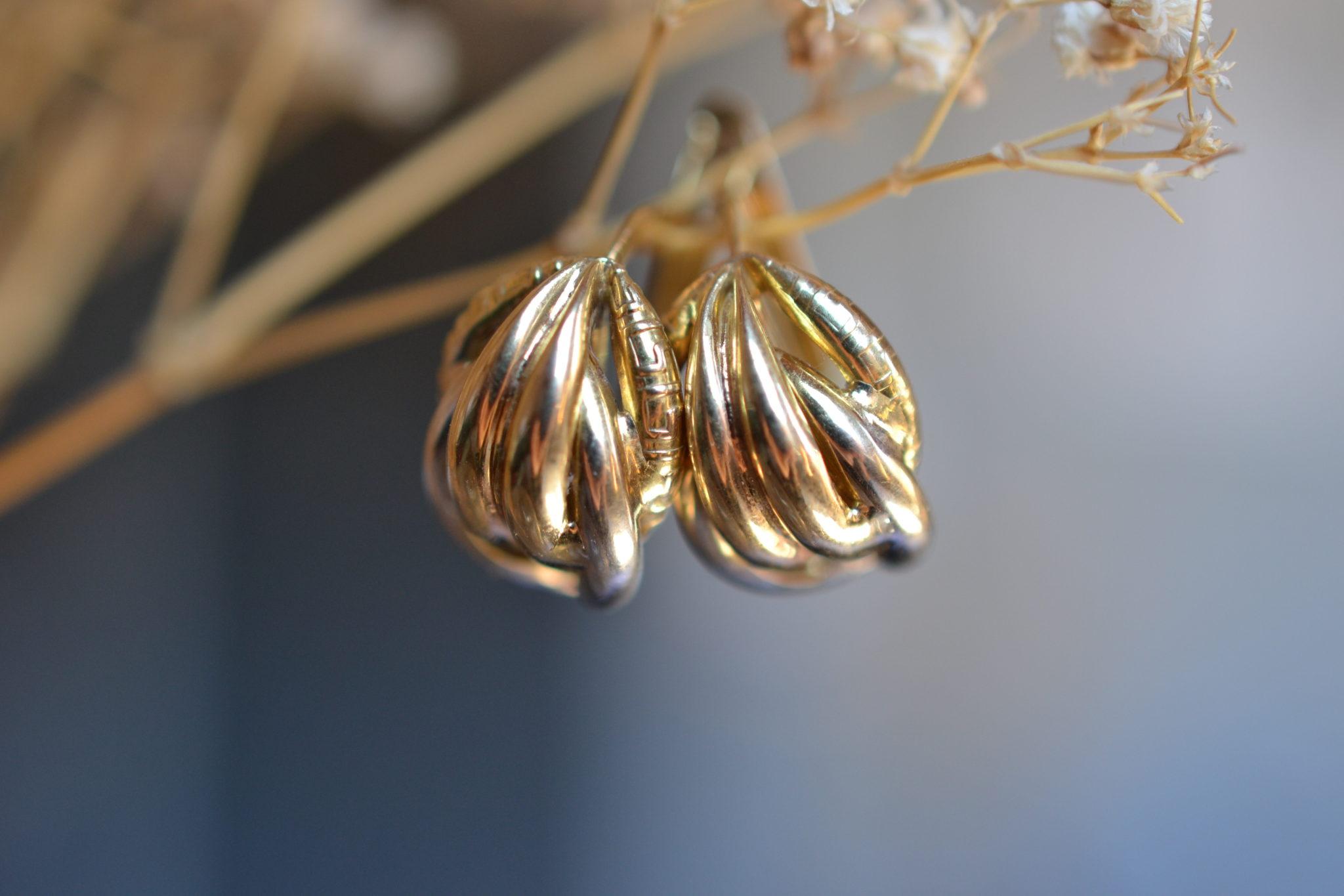 boucles d'oreilles 2 Ors vintage - boucles d'oreilles robe mariage zéro déchet