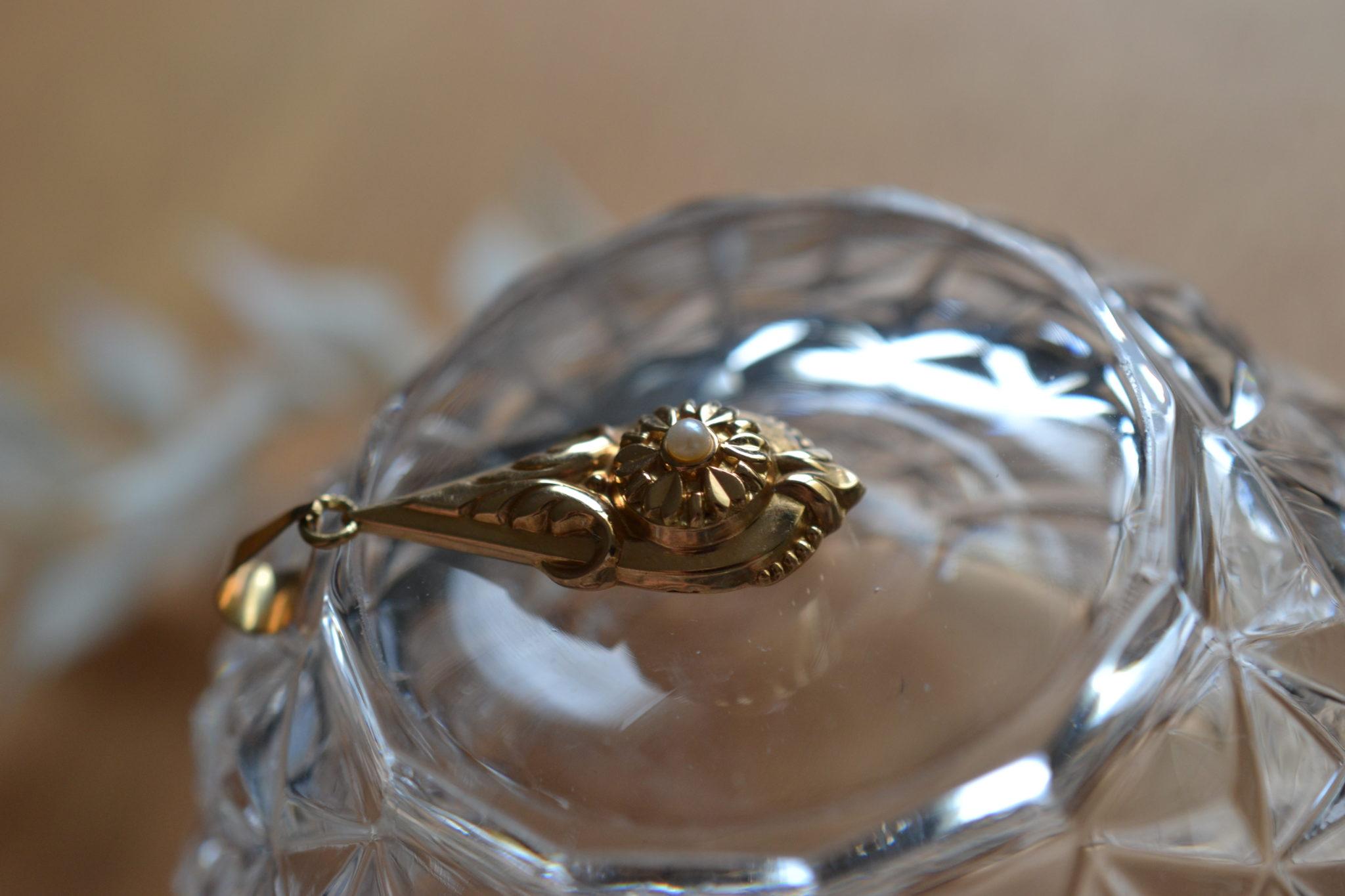 Pendentif Ancien Or Et Perle - Bijoux Vintage En Or - Bijoux Ethiques