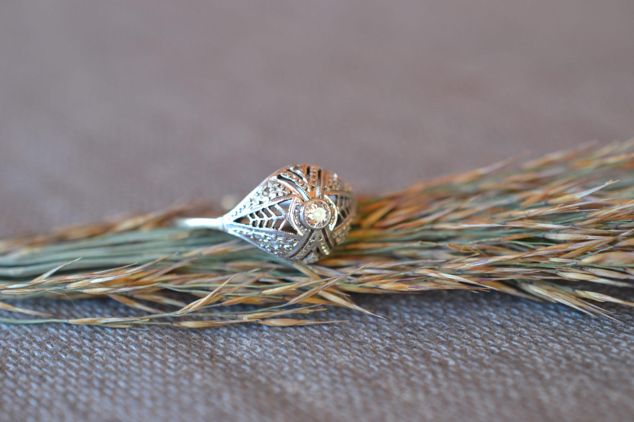 Bague Art Déco En Or Diamant Taille Brillant En Or Blanc Avec Anneau En Or Jaune Bijou Ancien Bague De Fiançailles