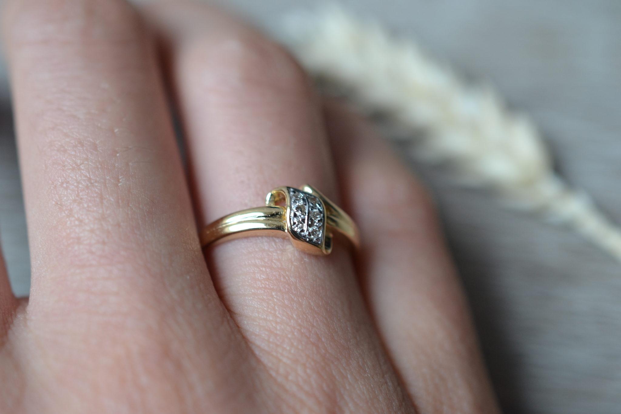 Bague or sertie de diamants bague vintage