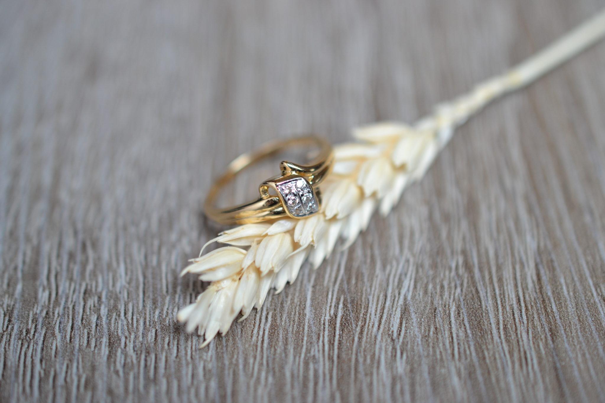 Bague or sertie de diamants bijou seconde main