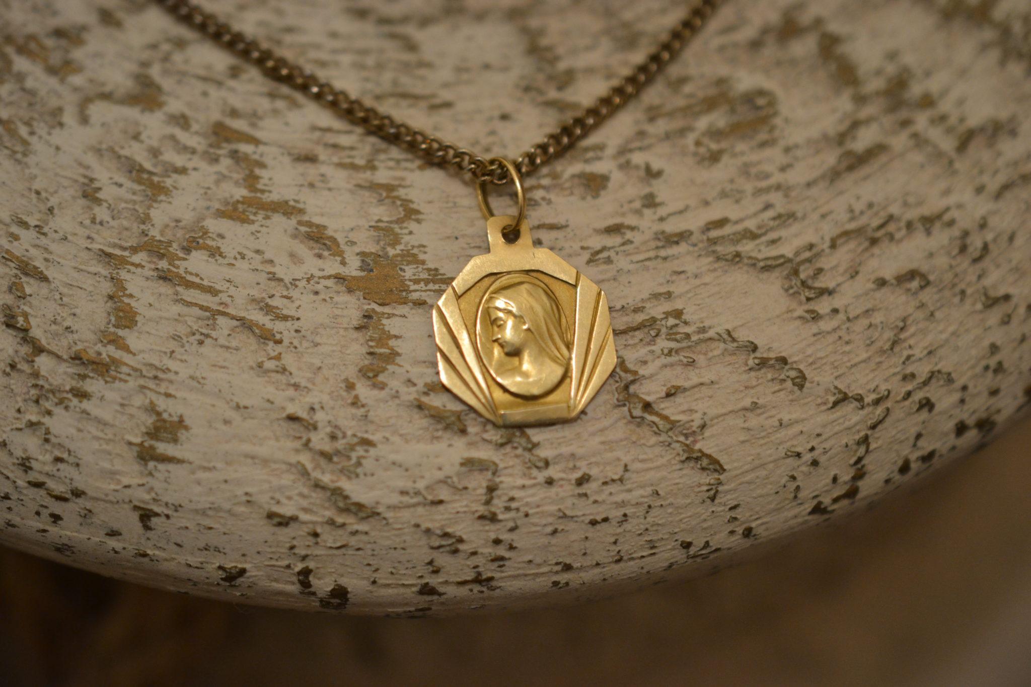 Médaille Géométrique Profil De La Vierge