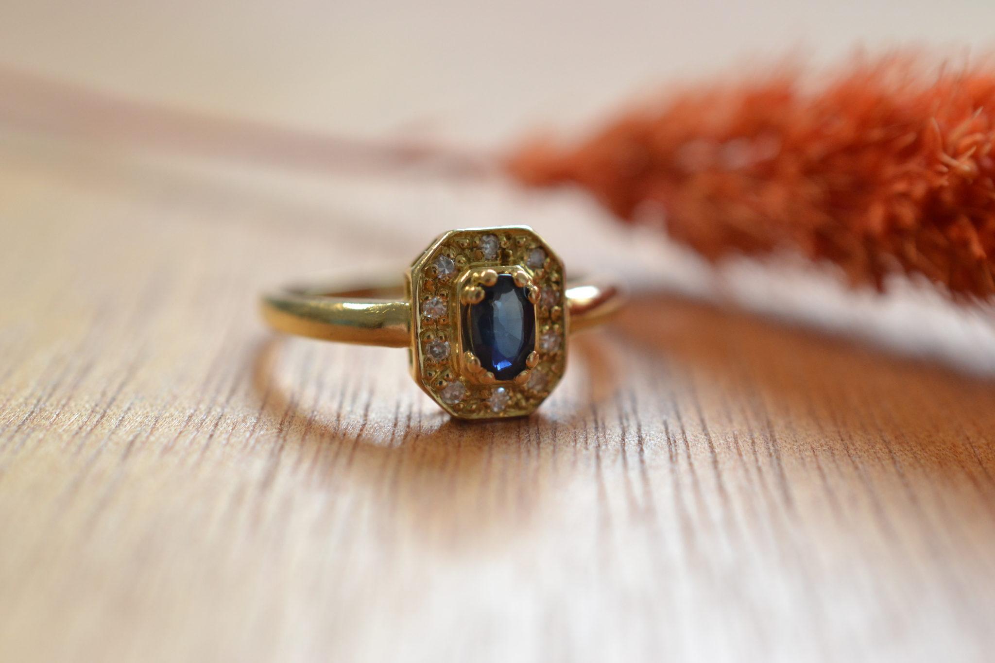 bague en Or massif hexagonale saphir et diamants bague vintage pour mariage durable