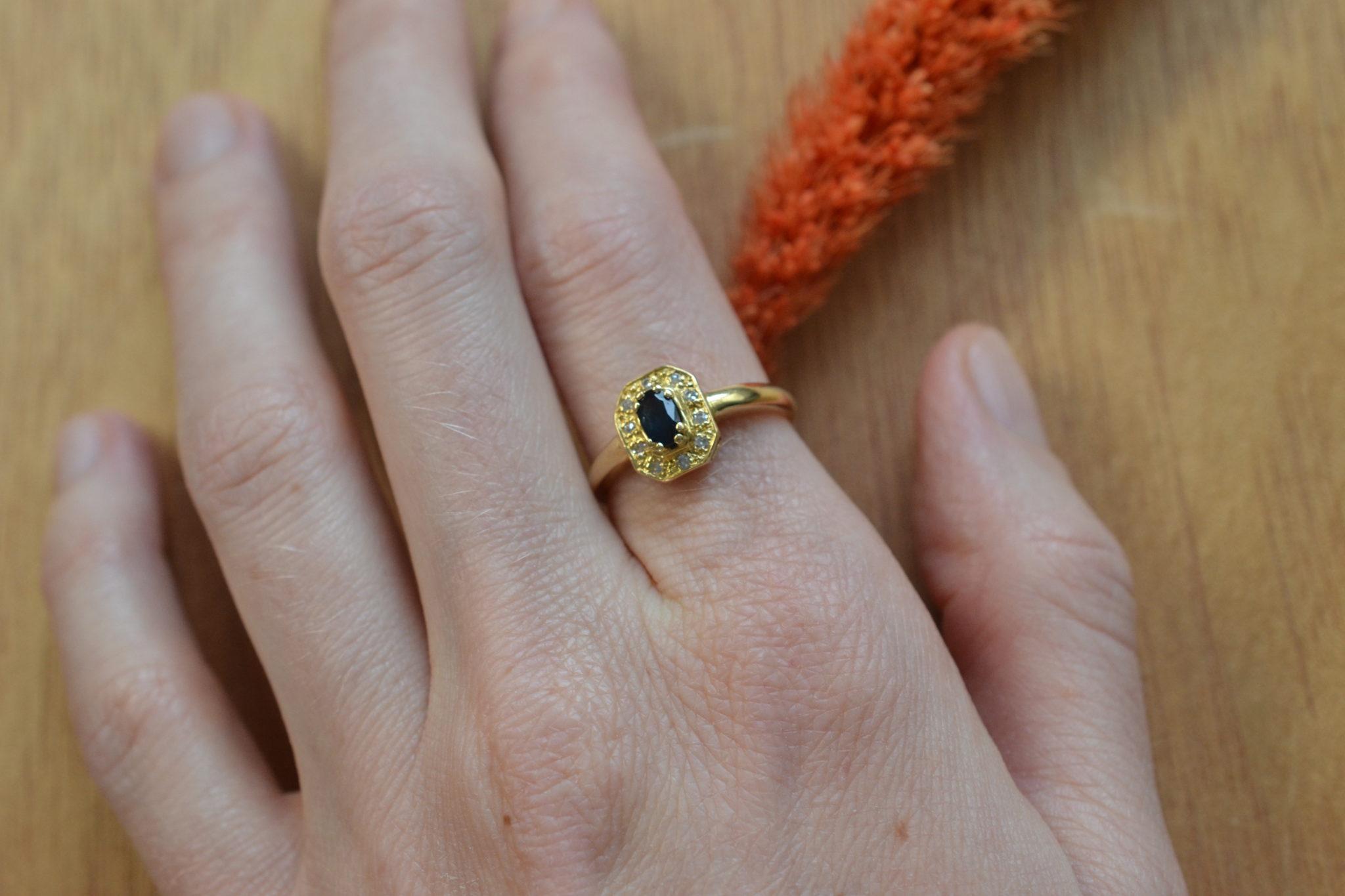bague en Or massif hexagonale saphir et diamants bague vintage pour mariage écoresponsable