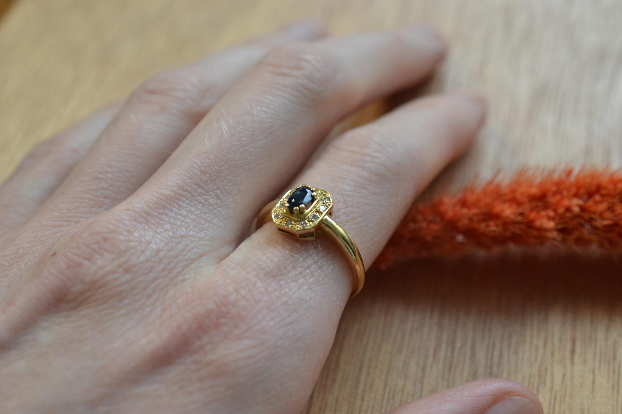 bague en Or massif hexagonale saphir et diamants bague vintage pour mariage zéro déchet