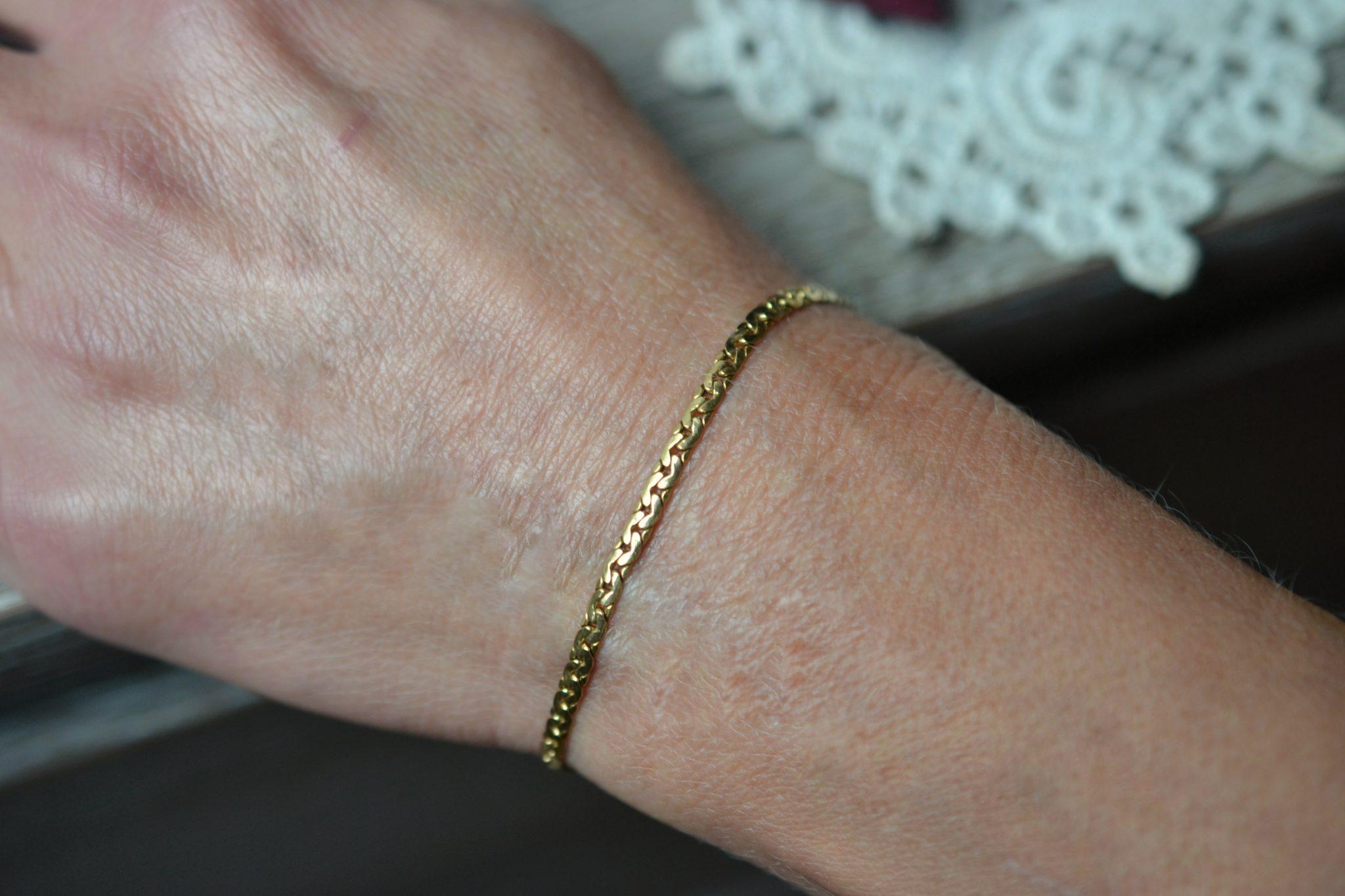 Bracelet maille en Or jaune unisexe bijou rétro