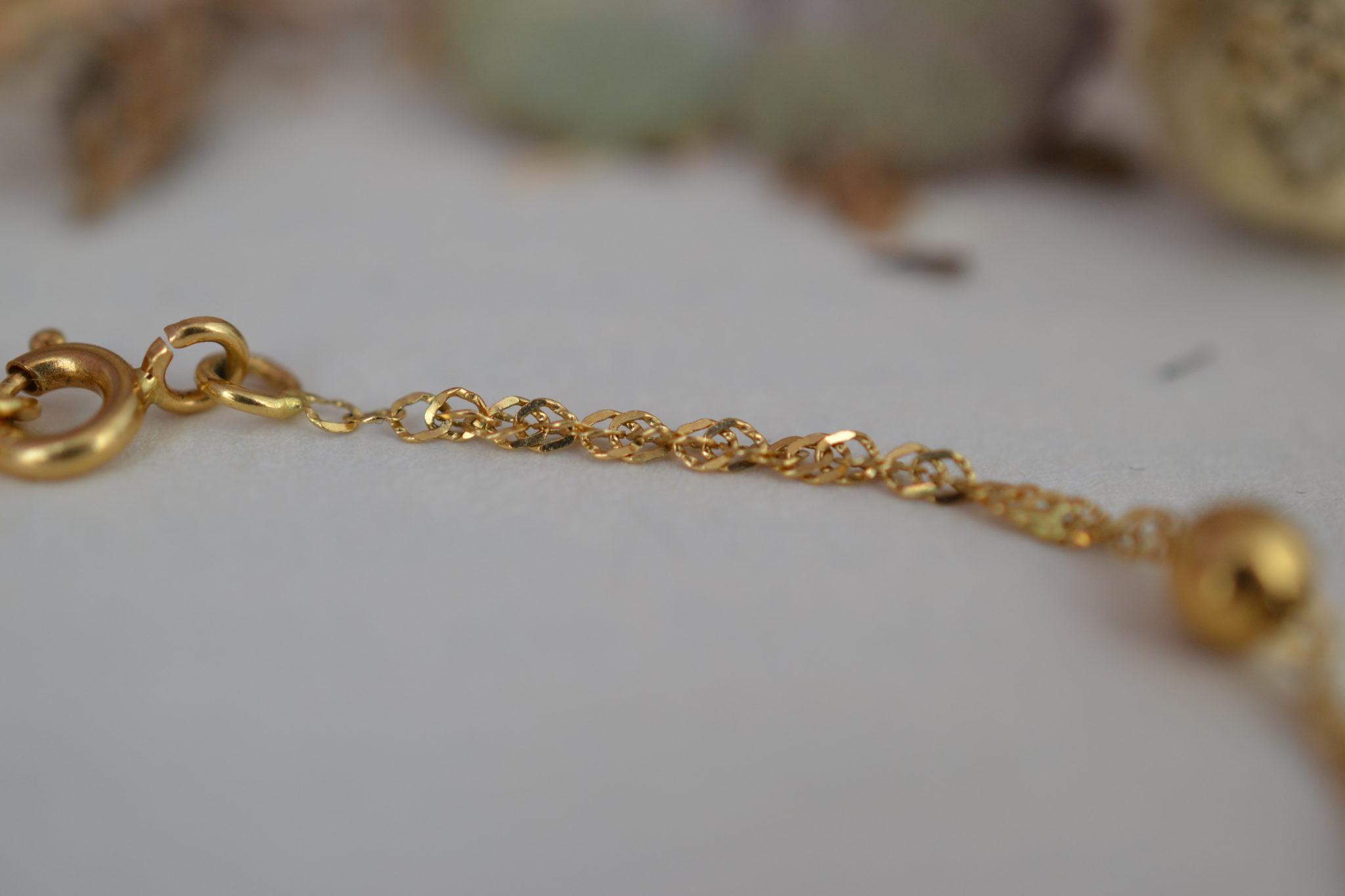 Bracelet En Or Jaune Décoré De Billes, Maille Effet Torsadé - Bracelet Rétro
