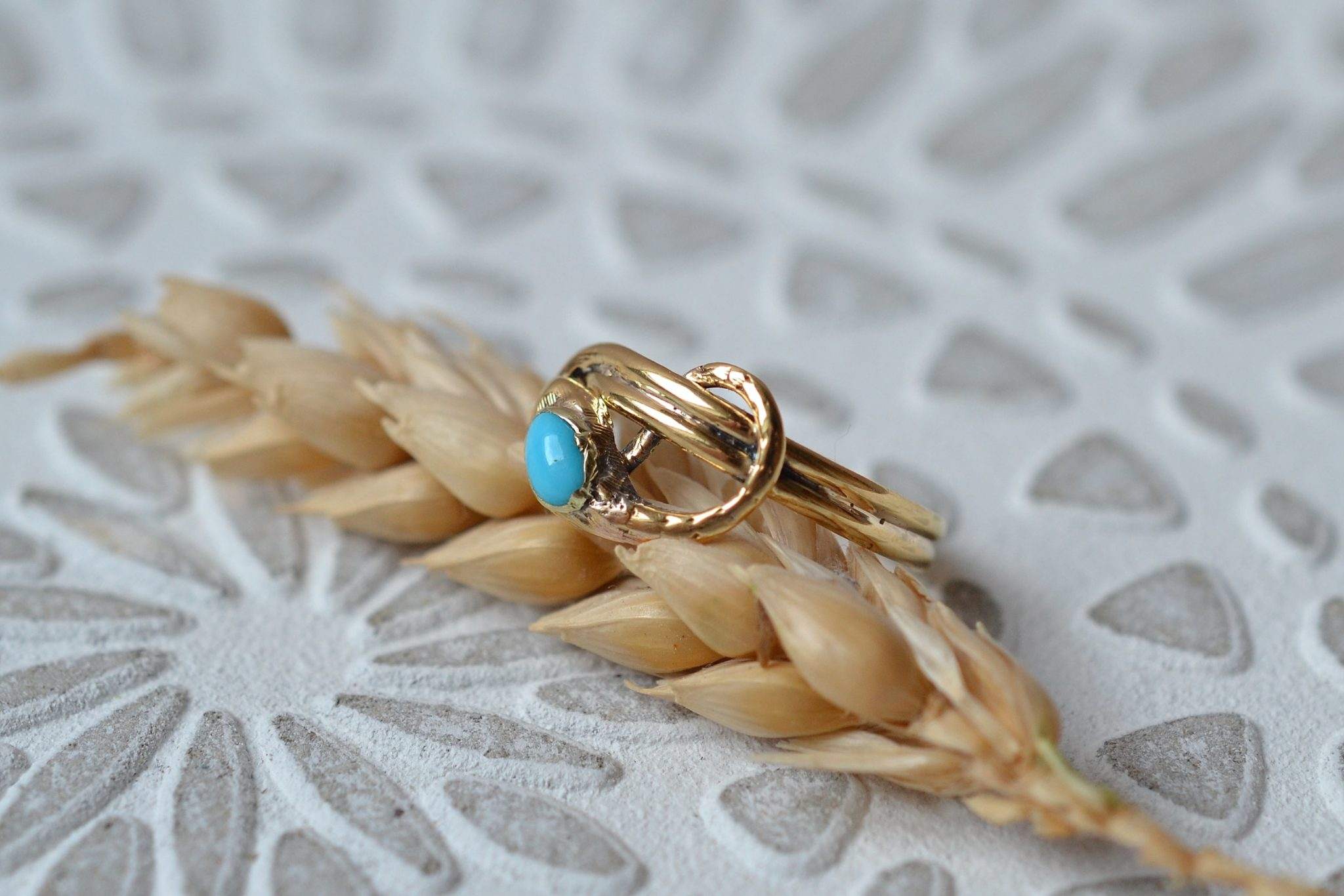 Bague En Or Jaune Sertie D_une Turquoise - Bague De Fiançailles Vintage