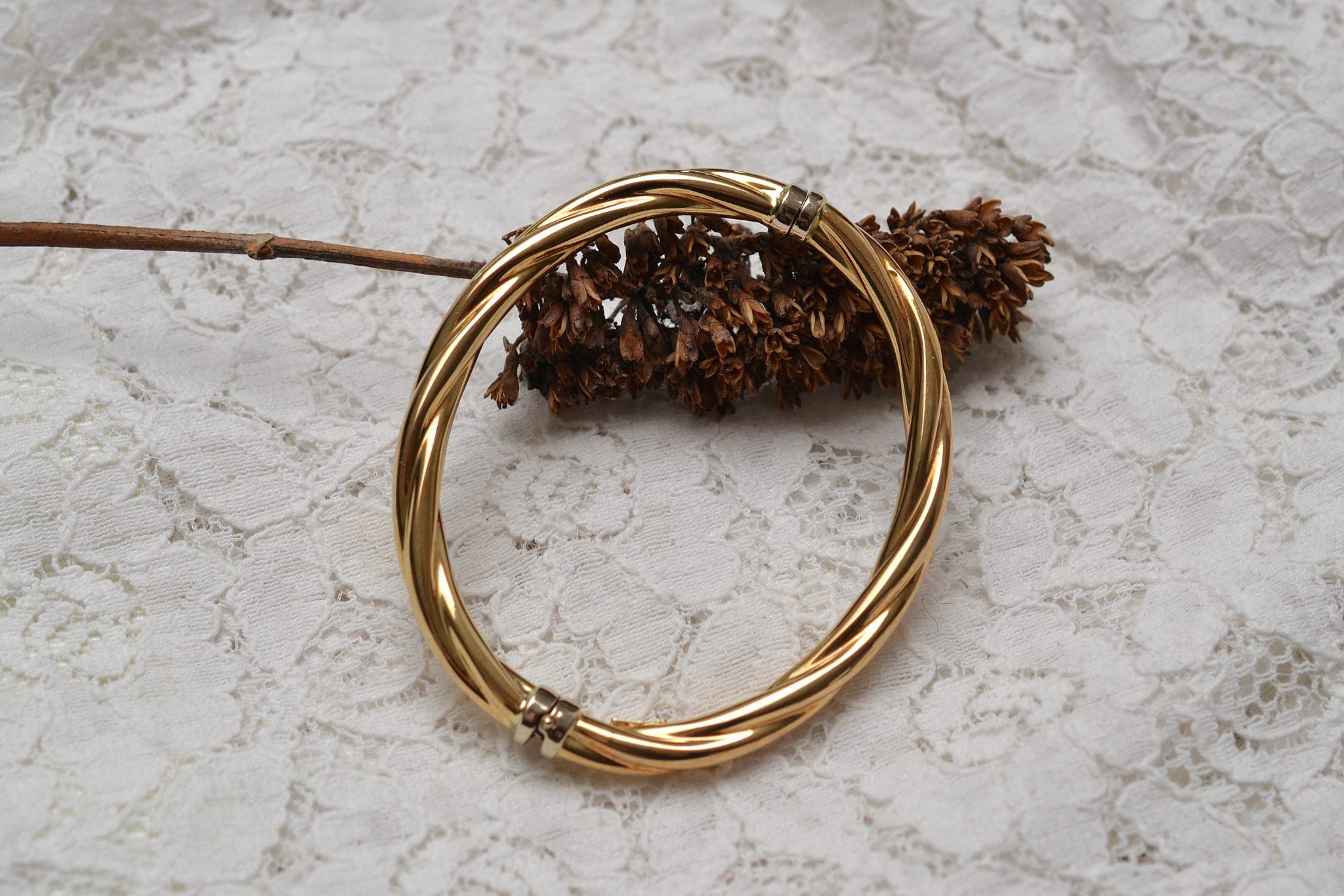 Bracelet Torsadé En Or Jaune - Bijou Vintage