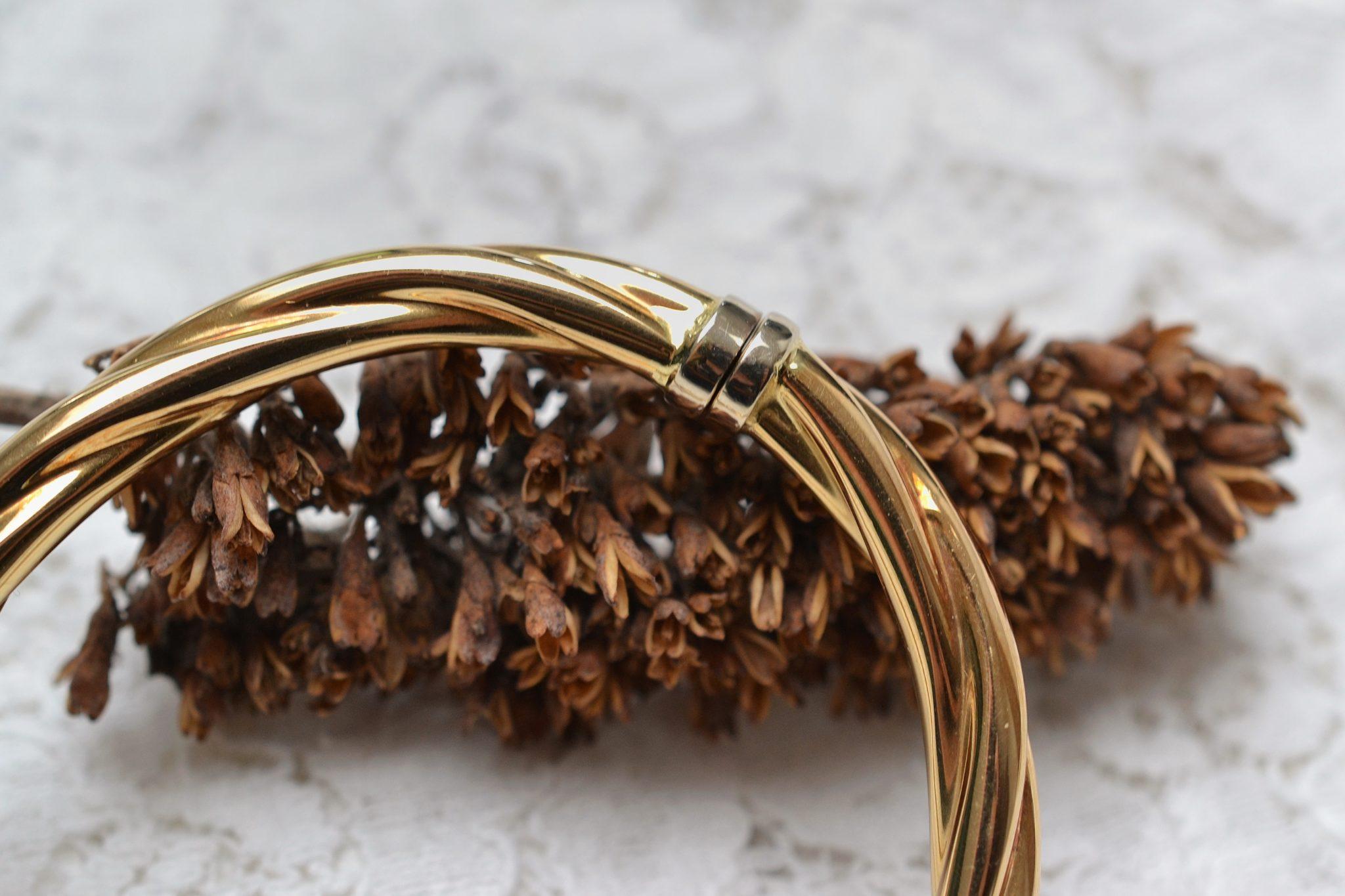 Bracelet torsadé en Or jaune - bijou éco-responsable