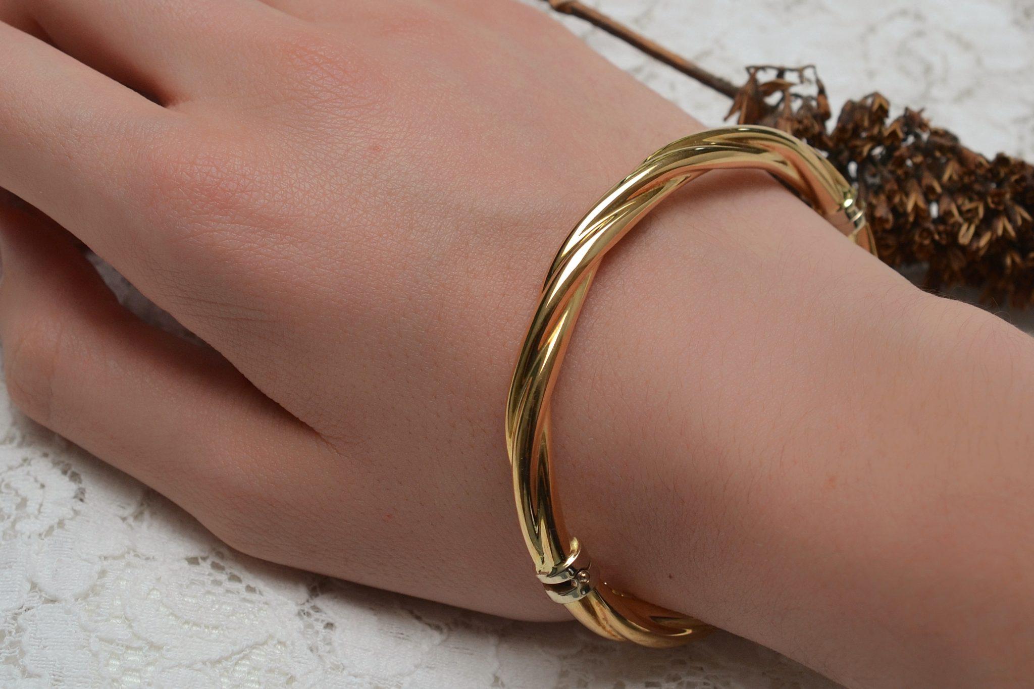 Bracelet torsadé en Or jaune - bijou rétro
