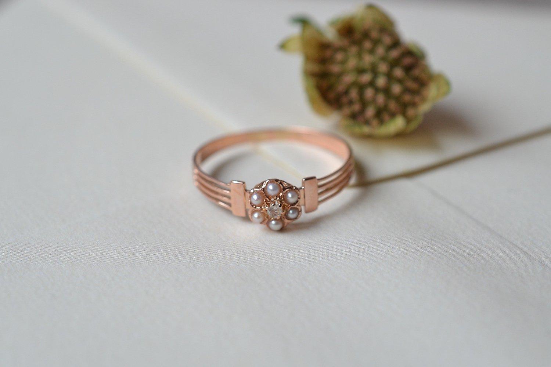 Bague Diamants Entourage Perles