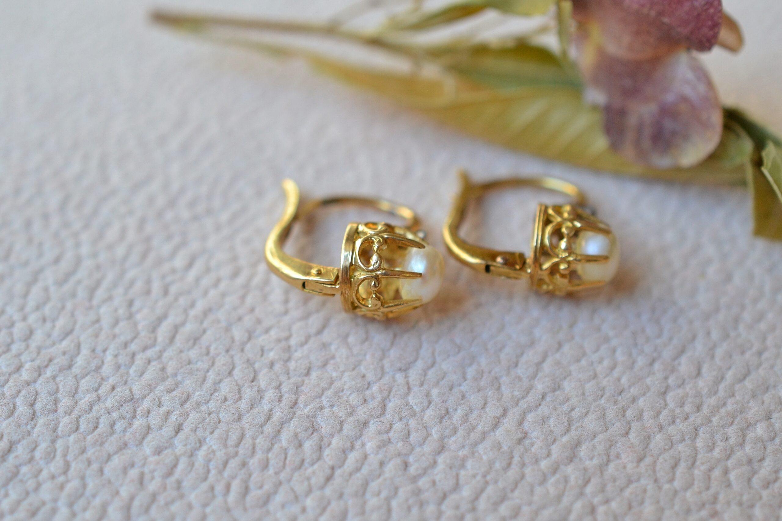 Dormeuses Perles et Diamants boucles d oreilles en or