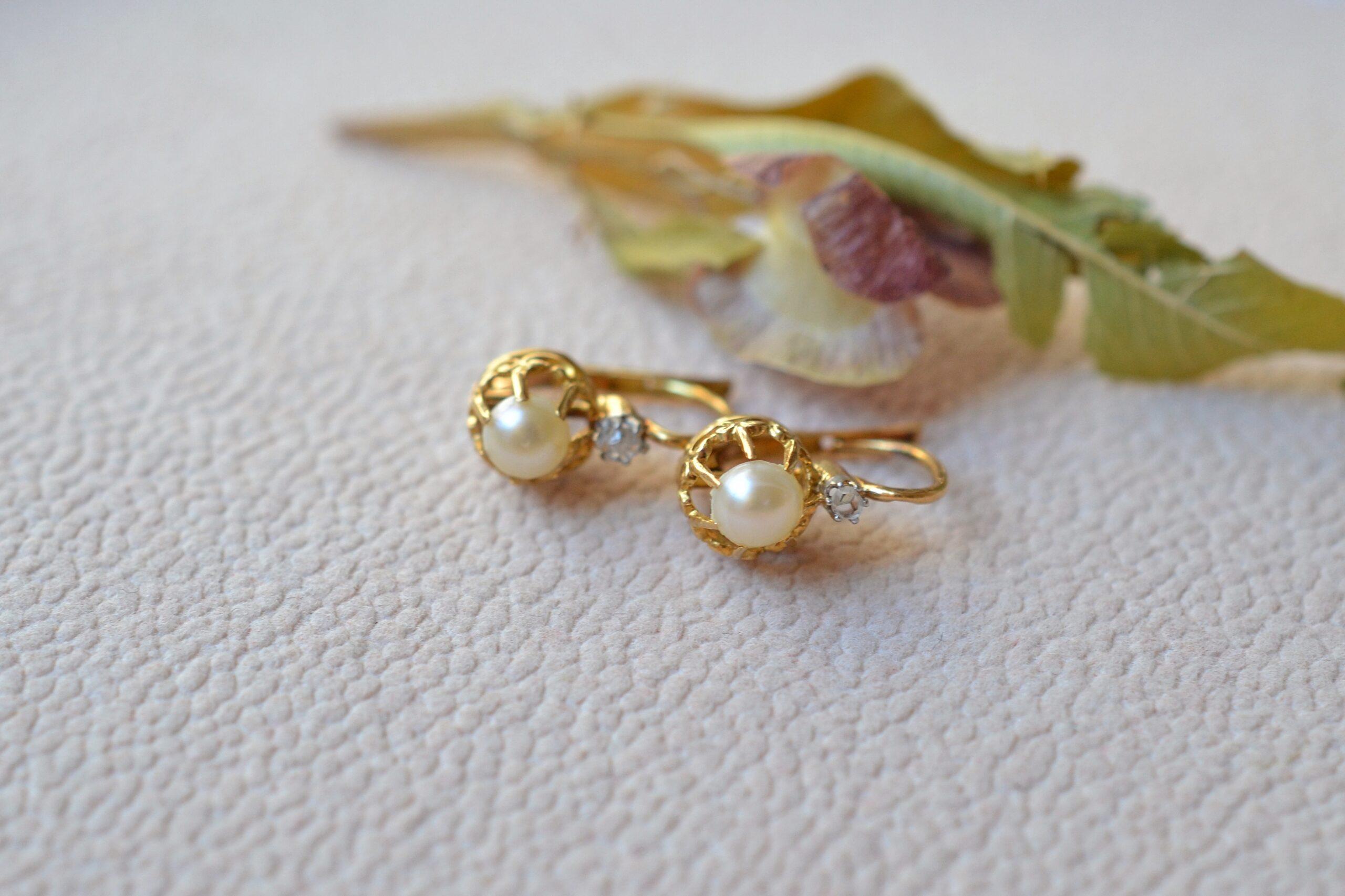 Dormeuses Perles et Diamants boucles d oreilles vintage et ethique