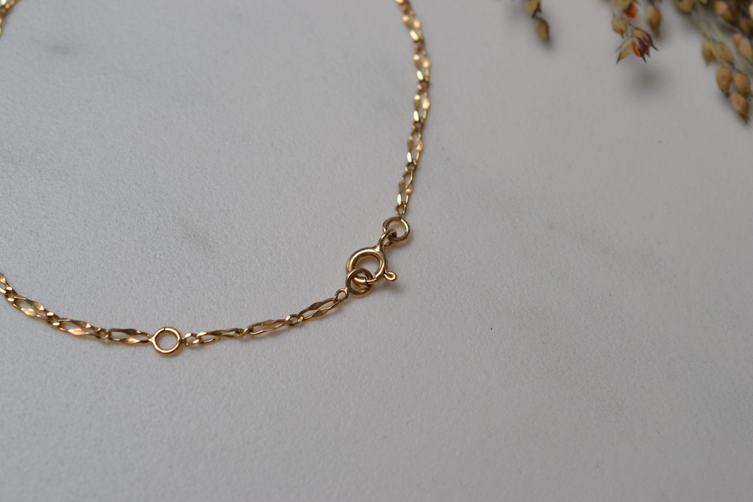 Fin bracelet en Or jaune, maille figaro alternee (1x1) et torsadee - bracelet de seconde main