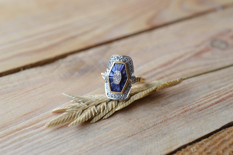 Bague Art Déco Saphirs Diamants