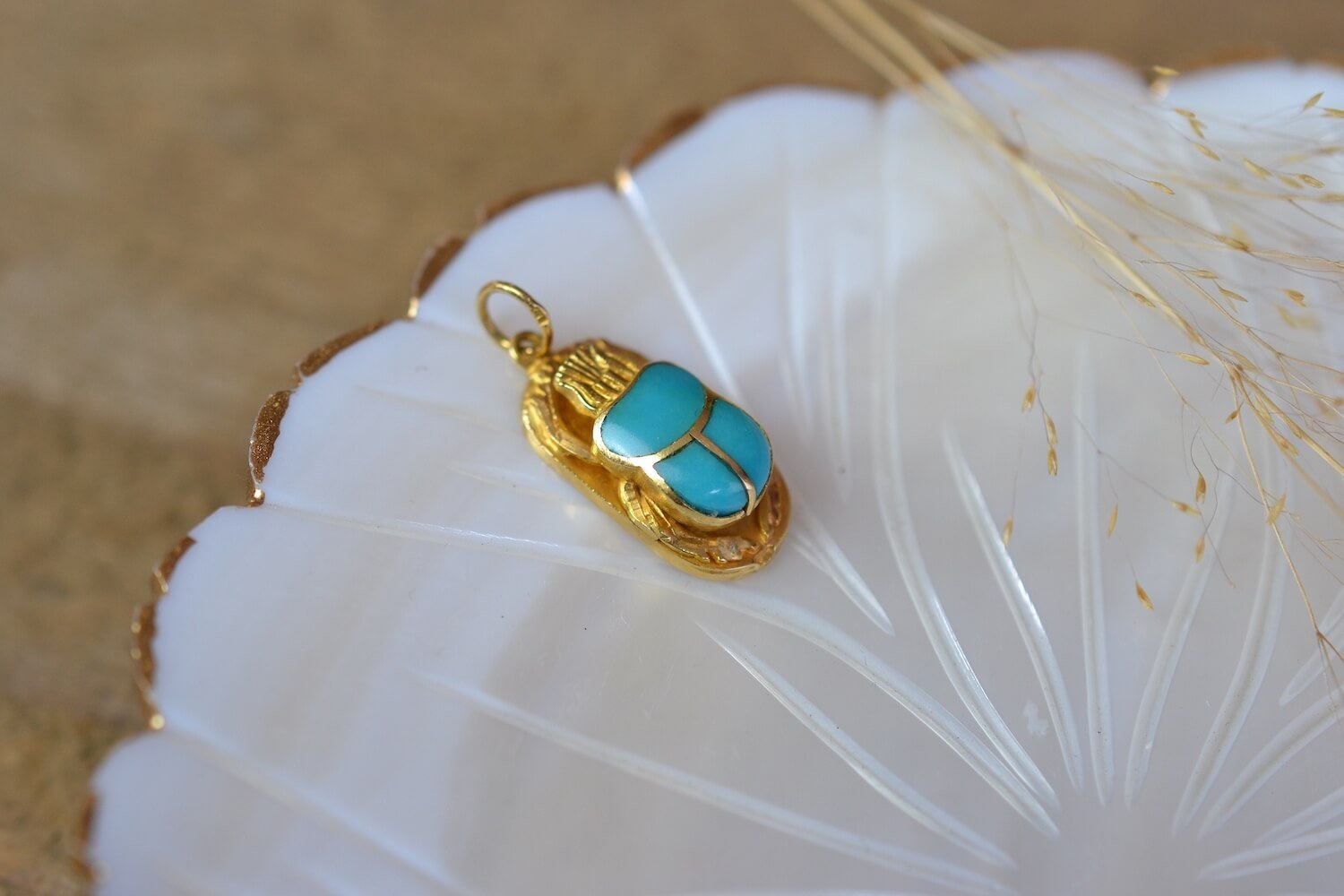 Pendentif Scarabée Email Turquoise